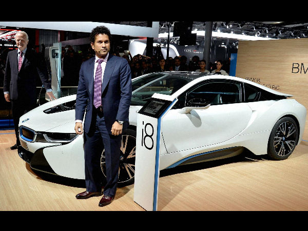 File photo: Sachin poses in front of a BMW