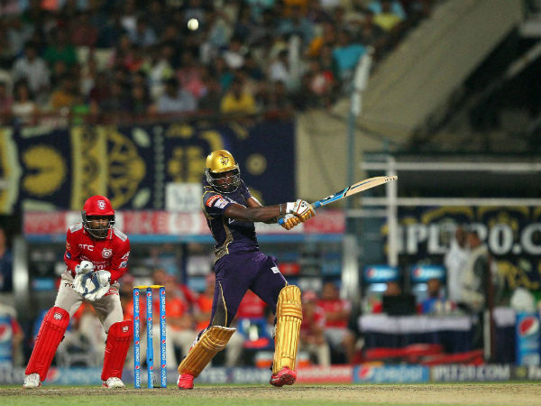 Andre Russell plays a shot against KXIP