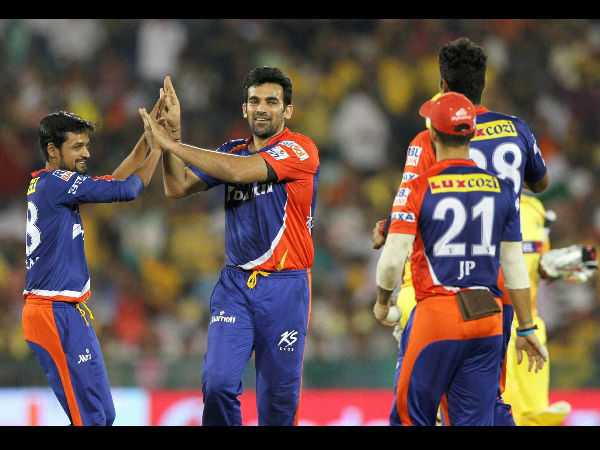 Zaheer Khan (second left) celebrates with team-mates after dismissing Brendon McCullum