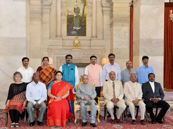 President Pranab Mukherjee with the awardees of the Presidential Awards for Classical Tamil 2011-2012 & 2012-2013, at Rashtrapati Bhavan, in New Delhi on Thursday. Union Minister for Human Resource Development, Smriti Irani is also seen.