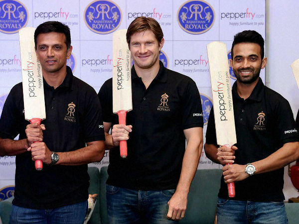 RR's mentor Dravid (left) with players Shane Watson (centre) and Rahane at a promotional event in Mumbai on Thursday (May 14)