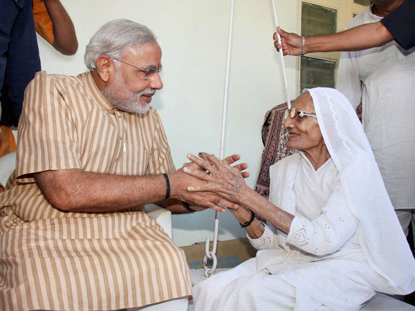Modi with his mother Hiraba
