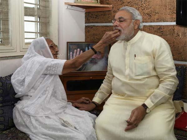 Modi's touching moments with his mother