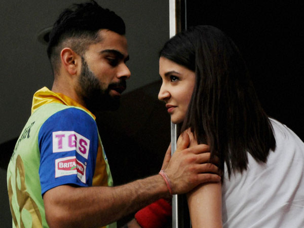 Virat and Anushka at Bengaluru stadium on Sunday