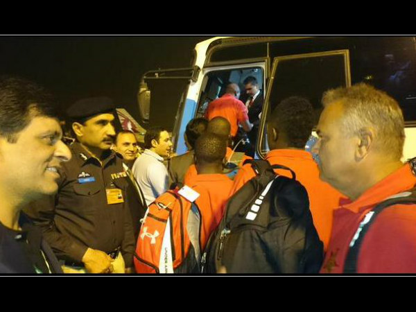 Zimbabwe players boarding the bus after their arrival in Lahore. Photo from Zimbabwe Cricket's Twitter page