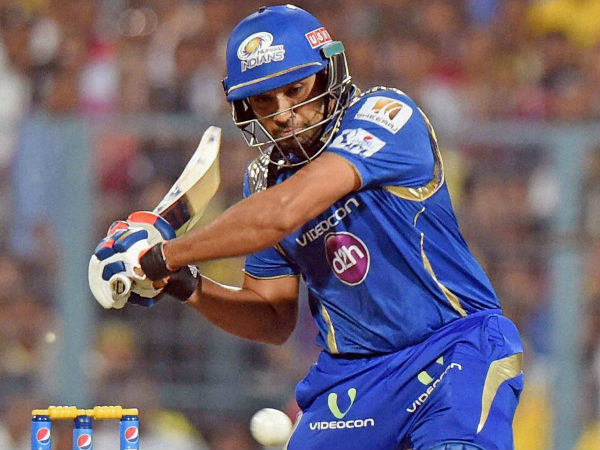 Rohit gets ready to play a shot against CSK