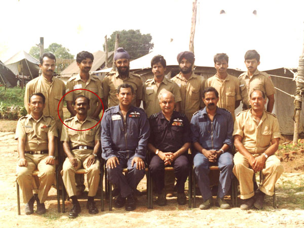 Air Mshl HB Rajaram as a part of Indian Air Force element of IPKF at Vavuniya in 1989