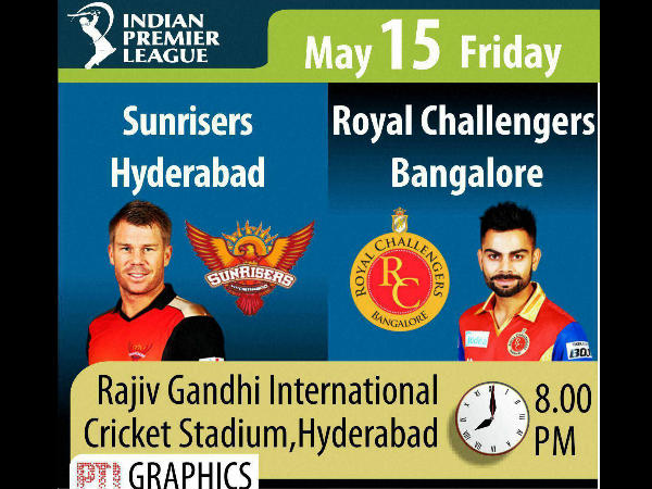IPL 2015 Daily Guide: Match 52 - Sunrisers Hyderabad Vs Royal Challengers Bangalore