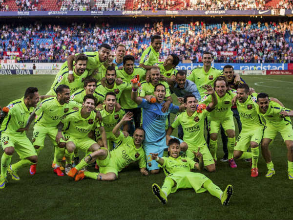 File photo: Barcelona celebrating their La Liga title win last month