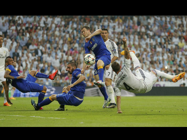 Action from UCL semi-final between Juventus and Real Madrid