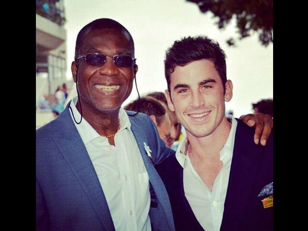 Craig Kieswetter (right) with Michael Holding, the former West Indies' fast bowler