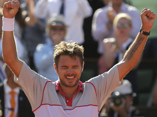 Wawrinka celebrates after winning the French Open final