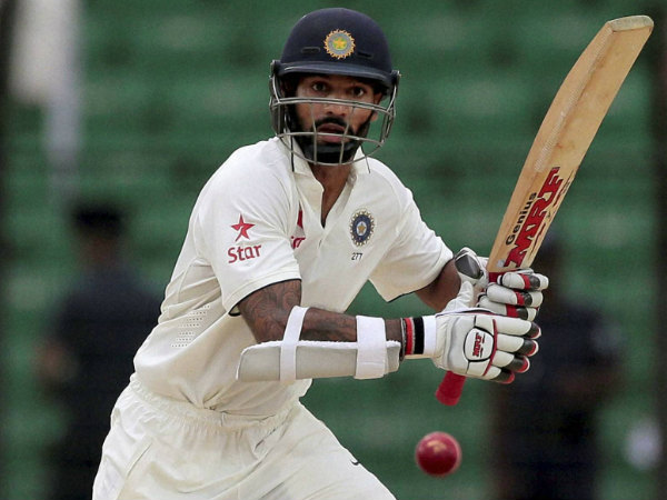 Shikhar Dhawan plays a shot on way to his century