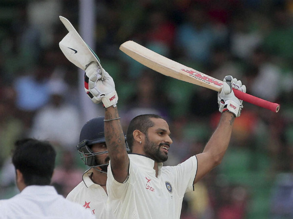 Shikhar Dhawan celebrating his ton in one-off Test against Bangladesh