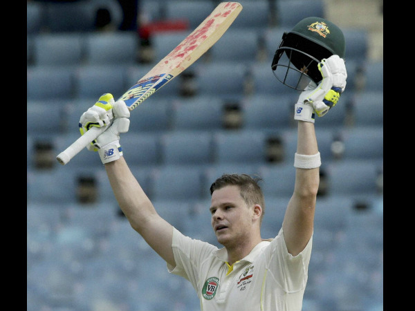 Steve Smith celebrates his century in Kingston. He was out for 199