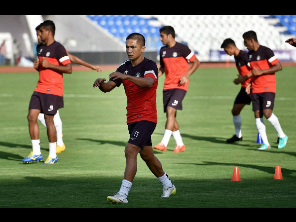 File photo: Sunil Chhetri (foreground) and his team-mates during a training session. Chhetri will captain the side
