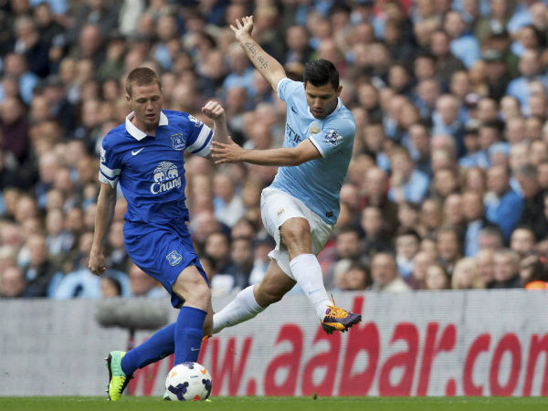 File photo of Sergio Aguero (right) during an English Premier League match for Manchester City