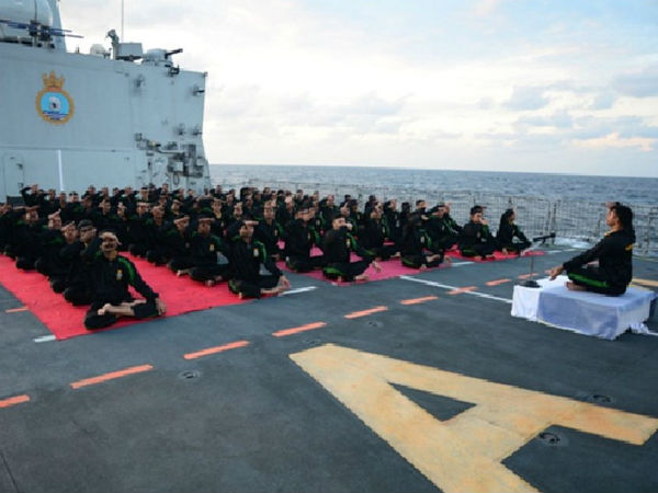 Yoga Day fever grips naval ship decks