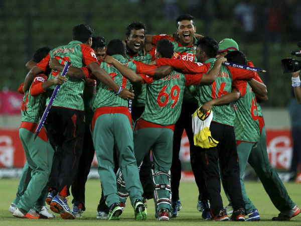 Bangladesh players celebrate their historic triumph