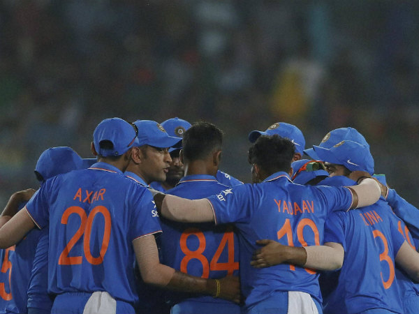 Indian players in a huddle after winning the 3rd ODI against Bangladesh on Wednesday