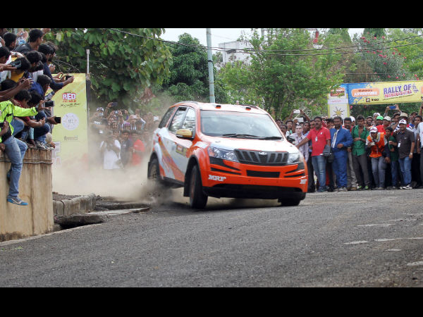 Gaurav Gill (co-driver Musa Sherif) negotiating a turn during the Spectator Special Stage on Saturday