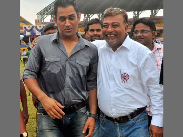 File photo: Dhoni with Chanchal Bhattacharya in Ranchi