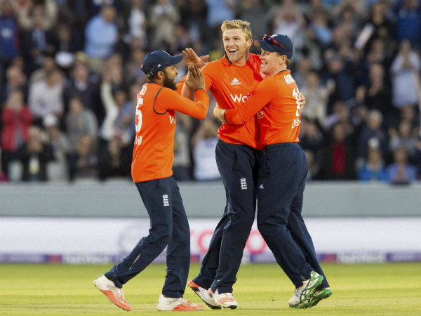 Adil Rashid (left) finds a place in the squad. Also seen in this file photo are David Willey (centre) and ODI captain Eoin Morgan