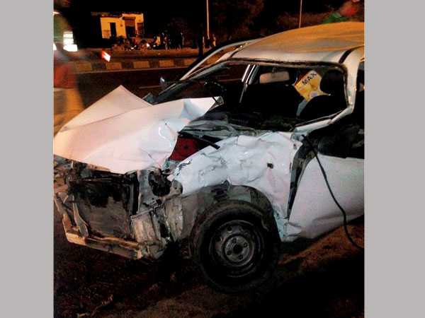 The Alto car which collided with Hema Malini's Mercedez