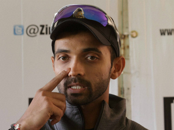 Captain Rahane speaks to the media in Harare