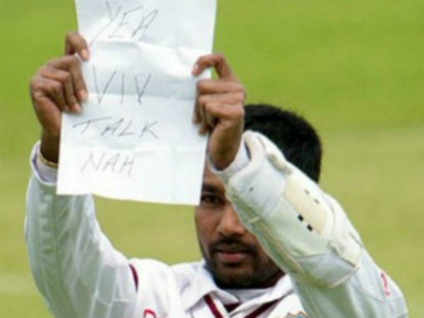 Ramdin's note to Richards during a Test match