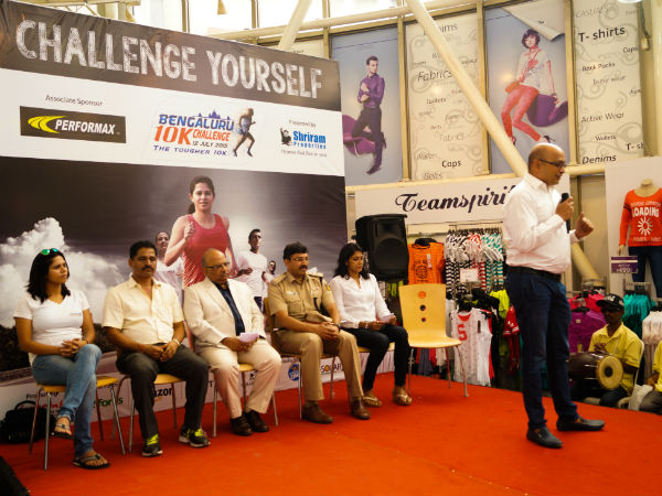 Nagaraj Adiga, Race Director, interacting with the media at the announcement of the first edition of the Bengaluru 10k Challenge, on Thursday (July 9). Also seen are (sitting from left to right) TimTim Sharma, N Chandrashaker Rai, Secretary of KAAA, Akhilesh Prasad, CEO of Reliance Trends, RI Kasim, ACP (Traffic), Reeth Abraham