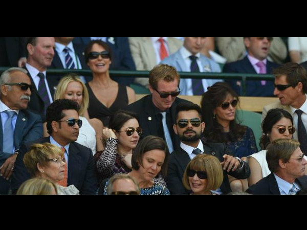 (Second row from down) - Sachin, Anjali, Kohli and Anushka at the Wimbledon. (Photo from Wimbledon's official Twitter page)