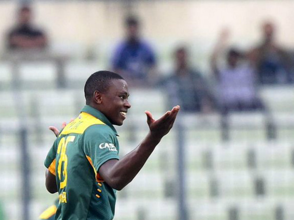 Kagiso Rabada celebrates a wicket. Photo from ICC's Twitter page