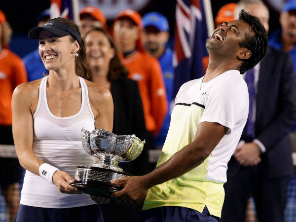 Hingis and Paes with Australian Open trophies earlier this year