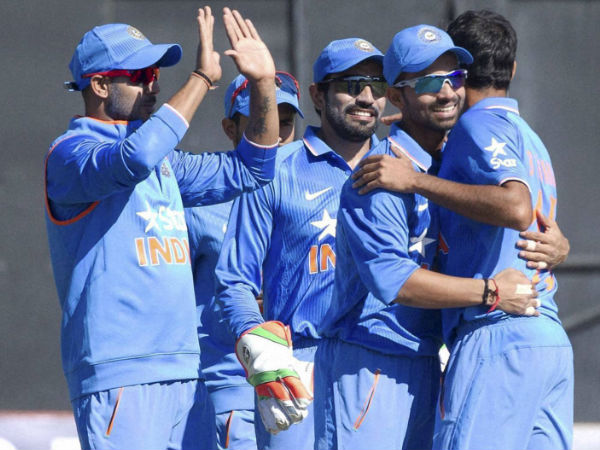 Indian players celebrate a wicket during the 2nd ODI