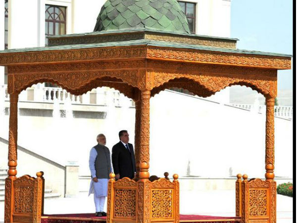 PM Modi, President of Tajikistan at ceremonial reception