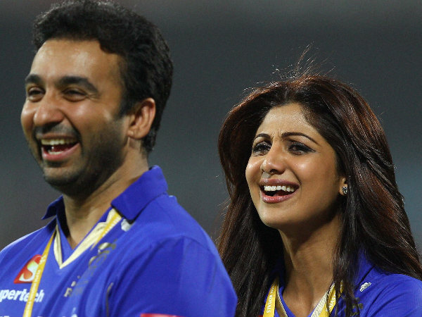 File photo: Raj Kundra (left) with his wife Shilpa Shetty, the Bollywood actress, during an IPL match