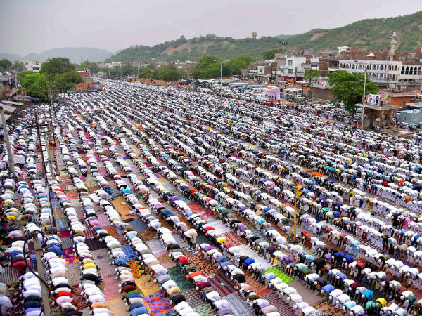 Muslims offering prayers