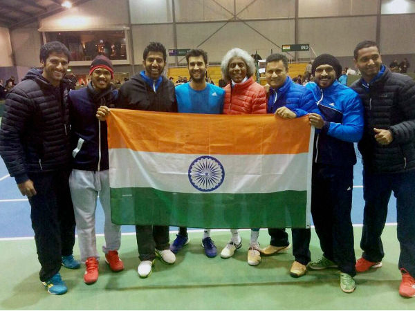 Indian players pose with the Tri-colour after beating New Zealand in Davis Cup recently