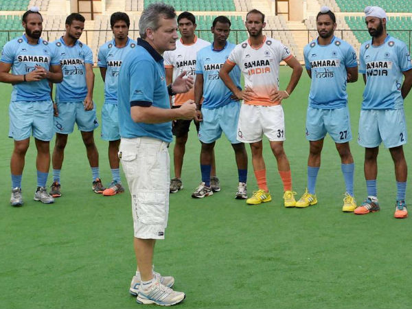 File photo: Paul van Ass taking to Indian players