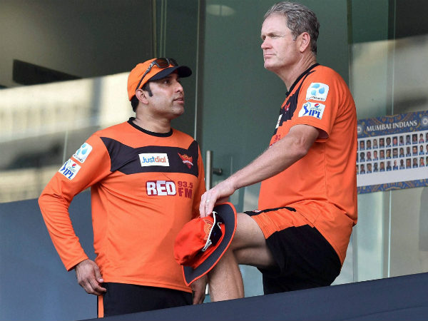 Laxman (left) with Sunrisers Hyderabad coach Tom Moody during IPL