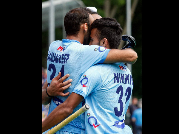 File photo of Indian players celebrating a goal at HWL