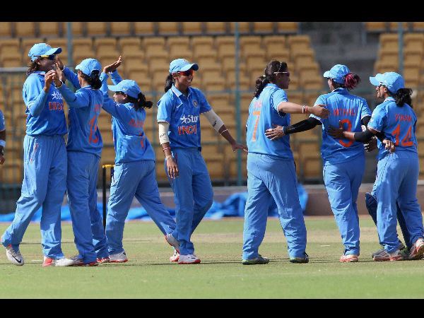 Indian women celebrating a wicket during the series