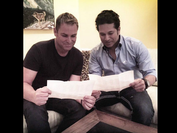 Warne and Tendulkar during their meeting. Photo from Warne's Instagram account