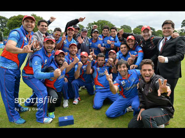 Afghanistan players after the victory. Photo: Omani players celebrate after the win. Photo: ©ICC/Sportsfile