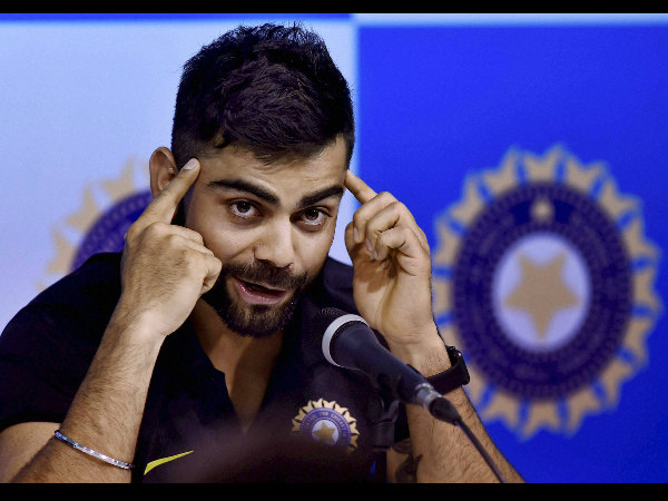 Virat Kohli gestures as he addresses the media persons during the pre-departure press conference at MAC Stadium in Chennai on Sunday