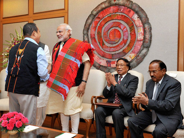 Prime Minister Narendra Modi at the signing ceremony of historic peace accord between Government of India & NSCN, in New Delhi on Monday. NSCN (IM)General Secretary Thuingaleng Muivah and National Security Adviser (NSA) Ajit Doval are also seen.
