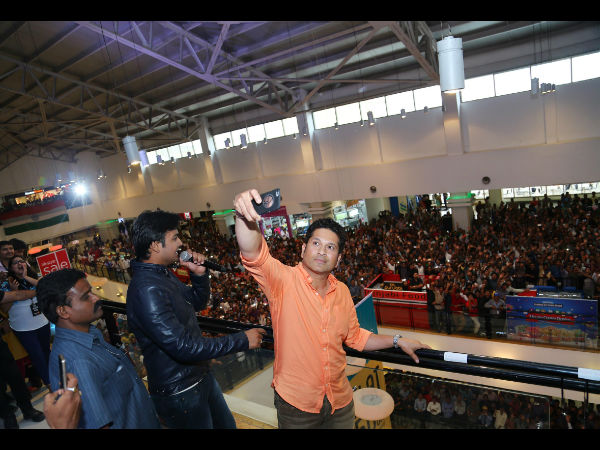 Sachin Tendulkar takes a selfie at a mall in Hyderabad on Tuesday