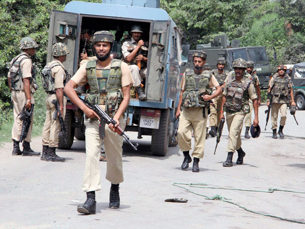 Security forces during a terrorist attack on a convoy of Border Security Force (BSF) on the Jammu-Srinagar National Highway in Udhampur district of Jammu and Kashmir on Wednesday.