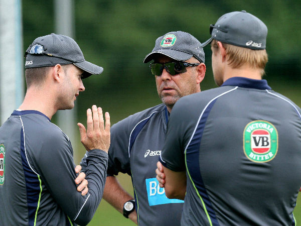 File photo: Coach Lehmann (centre) with Michael Clarke (left) and Shane Watson